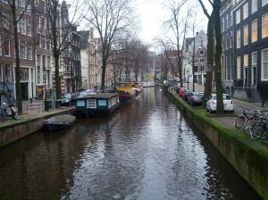 Canal in Amsterdam (note: the workshop was in Nijmegen, not Amsterdam. Also note: the dangers of parallel parking next to a canal. You'd be safer living in one of these houseboats!