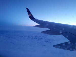 Aerial shot of Greenland. Can't tell where the clouds end and the snow and ice begin!